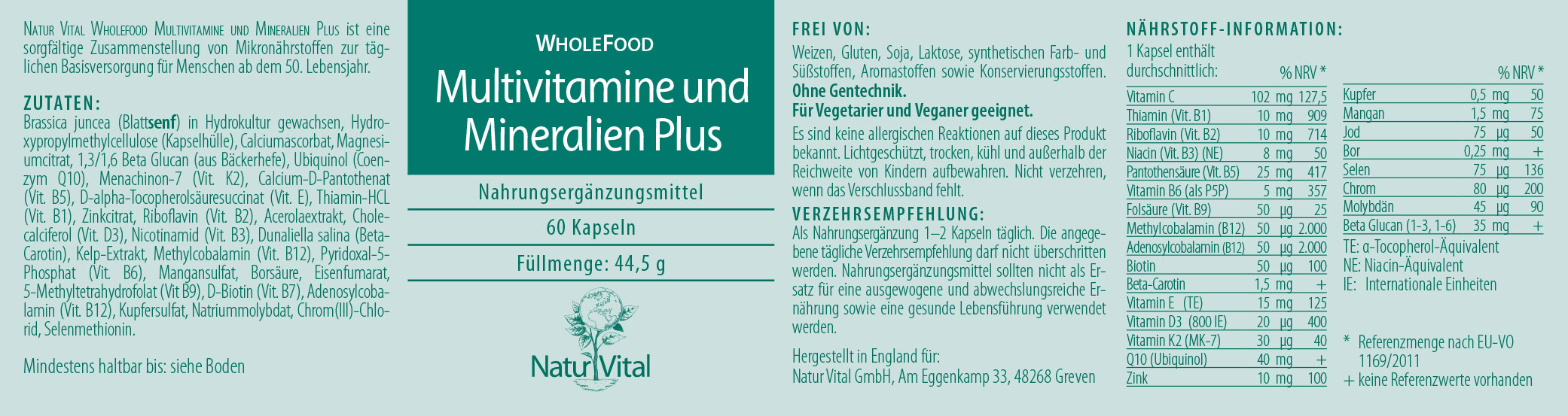 Multivitamine & Mineralien Plus WholeFood, 60 Kaps