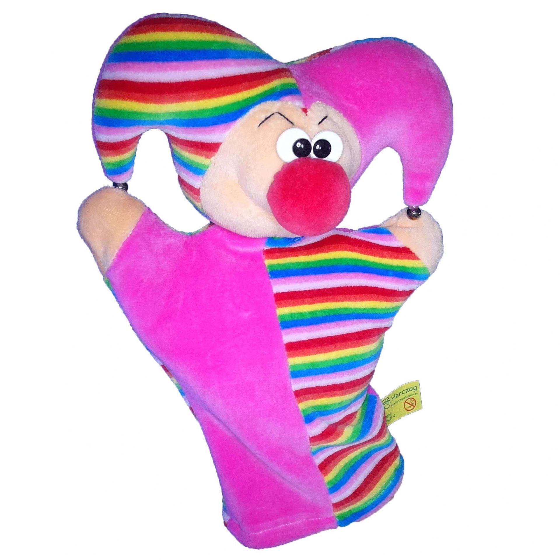 Handpuppe Hofnarr pink/bunt